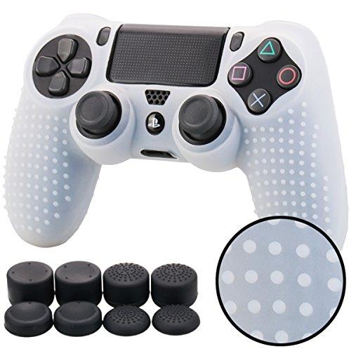 Pandaren® BORCHIE silicone custodie cover pelle antiscivolo per PS4 controller x 1 (bianco chiaro) + FPS PRO thumb grips pollice prese x 8