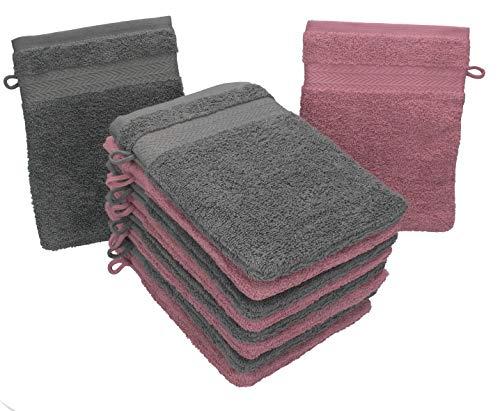 Betz Set di 10 Guanti da Bagno Premium Misure 16 x 21 cm 100% Cotone Rosa Antico e Grigio Antracite