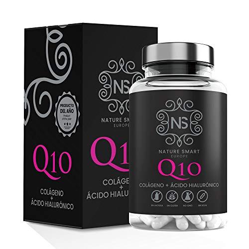 Collagene marino con acido ialuronico + coenzima Q10 per una pelle sana - Effetto anti-invecchiamento - Collagene + vitamina C- per contribuire a la salute delle articolazioni - 90 cap