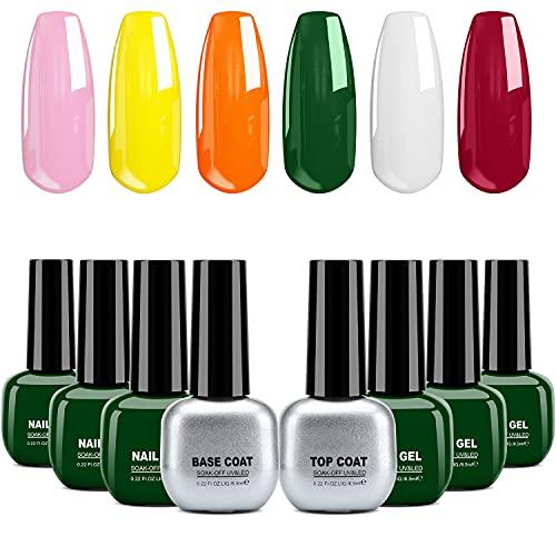 Smalti per Unghie Set(8pzs), Gel Unghie, Gel Colorati per Unghie UV, Kit Semipermanente Unghie, Smalto Semipermanente per Unghie con Base Coat Top Coat per UV LED Set Manicure, 6.5ml