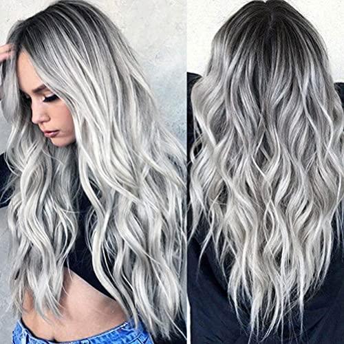 YEESHEDO Parrucca grigia donna lunga ondulata, parrucche capelli naturale lunghi ricci ondulati capelli grigio grey wig 26 pollici