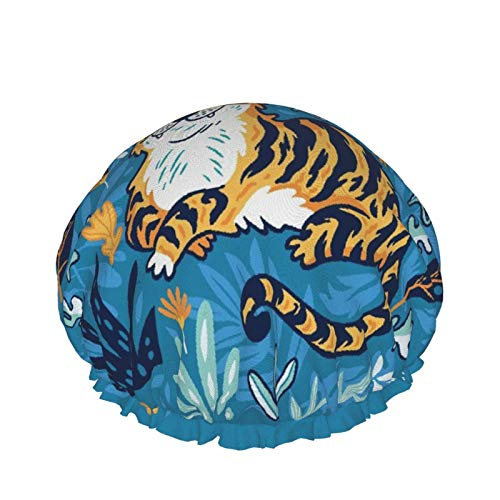 Cuffia per doccia a doppio strato,Cute Cartoon Tiger Nella Giungla Isolato Su Sfondo Blu,Tappi da bagno elastici impermeabili riutilizzabili per tutte le lunghezze