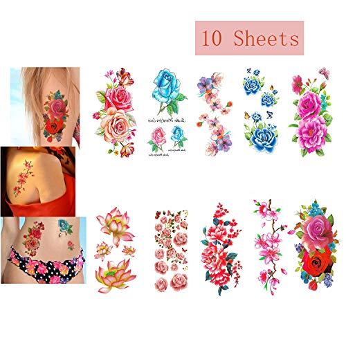 LINGREAL fogli adesivi per tatuaggi temporanei di grandi dimensioni (fiori di loto, giglio, pesca, prugna, peonia, ciliegia) per bambini, ragazze, donne, adulti (Tatuaggi temporanei - 10 Pezzi)