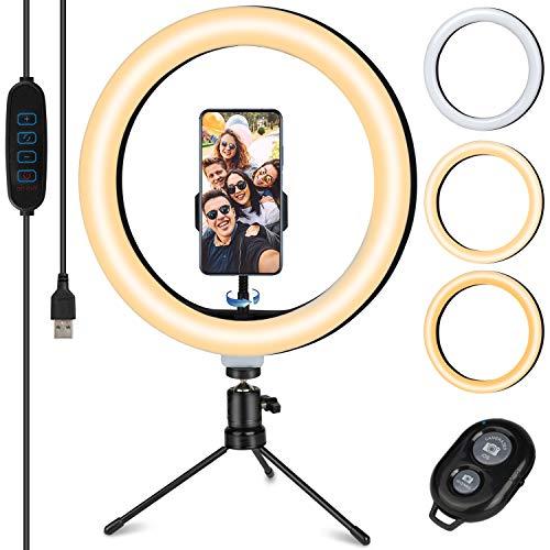 TVLIVE Luce per Selfie, 10.2' LED Ring Light con Stativo Treppiede, 3 Modalità Colore,10 Livelli di Luminosità e Telecomando Wireless,Supporta YouTube/streaming Live/Trucco/Fotografia