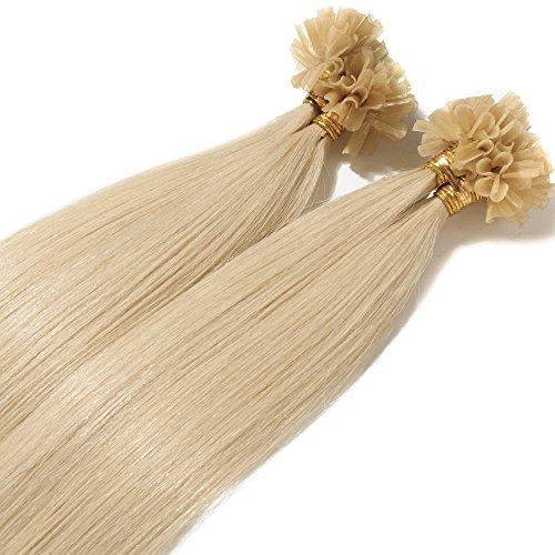 Rich Choices Cheratina Extension Capelli Veri 1g/ciocca Remy Hair Extension Capelli Lisci Umani Keratina Lunga 55cm Pesa 50g, 60 Biondo Platino