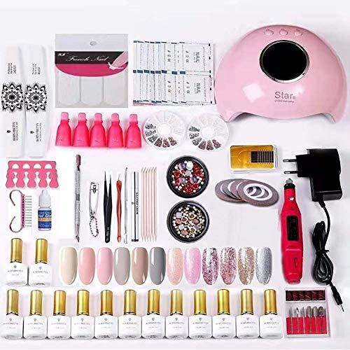 BORN PRETTY - Set di smalti per unghie, lampada per unghie, set base coat UV per unghie, 12 colori
