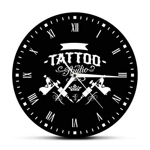 Orologio da parete Tattoo Studio Tattoo Macchina Moderna Orologio da Parete Tatuaggio Salone Negozio Decorazione Nero Rotondo Orologio Hipster Uomini Tattooist Regalo