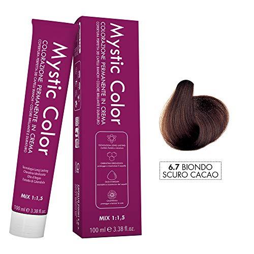 Mystic Color - Colore Biondo Scuro Cacao 6.7 - Tinta per Capelli - Colorazione Professionale in Crema a Lunga Durata - Con Cheratina Idrolizzata, Olio di Argan e Calendula - 100 ml