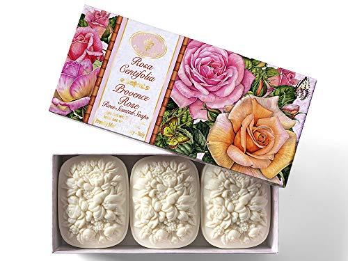 Saponificio Artigianale Fiorentino, Rosa Centifolia, set di 3 saponette da 125 g