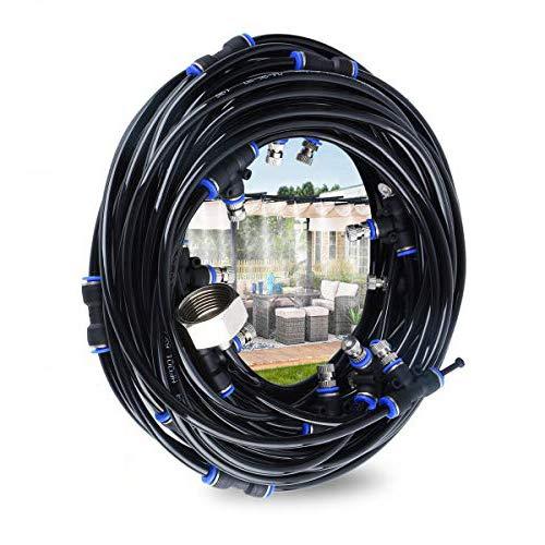 Hydrogarden Nebulizzatore Giardino - Sistema di irrigazione, 18 m Misting Line + 21 ugelli nebulizzatori in Ottone + Un Adattatore in Ottone, Adatto per Giardini, Serre e trampolini