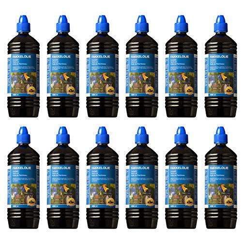 Farmlight TORCHOIL 12 X 1 Olio combustibile per torce e fiaccole 12 Bottiglie da 1 litro, blu, 12 litri