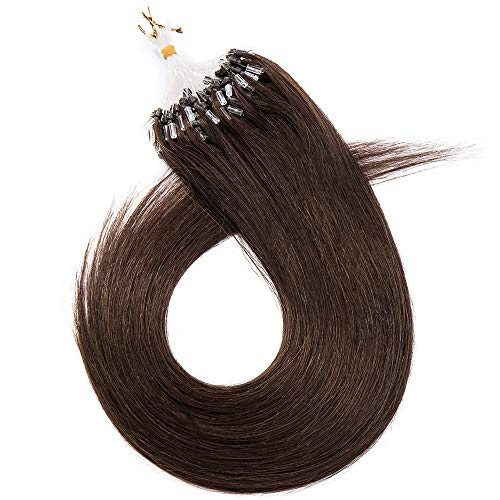 (40-60cm) Extension Capelli Veri con Microring Anelli 100 Ciocche 50g Loop Hair Extensions 40cm Remy Human Hair - 4 Marrone Cioccolato