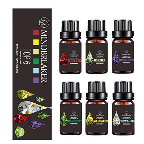 Set di oli essenziali floreali, oli aromatici aromatici biologici oli essenziali terapeutici di grado premium puro al 100% - Confezione regalo Bottiglie da 6/10 ml (Floral Essential Oils Set-TOP 6)