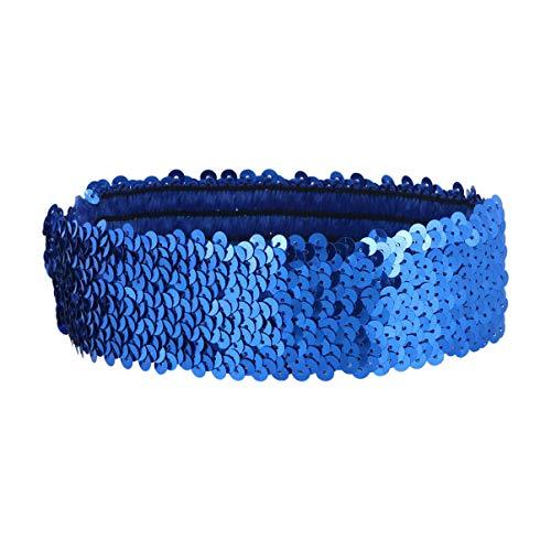 Beaupretty fascia per capelli con paillettes luccicanti fascia per capelli sportiva alla moda glitter copricapo elastico bling copricapo per donna ragazza (blu)