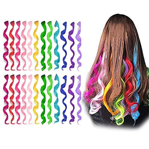 24 Pcs Extension Capelli Colorati Clip, Comius Sharp 55 CM Colored Clip in Hair extensions, Ciocche Colorate per Capelli in 12 Colori Diversi, per Donne Acconciature Cosplay (Curved)