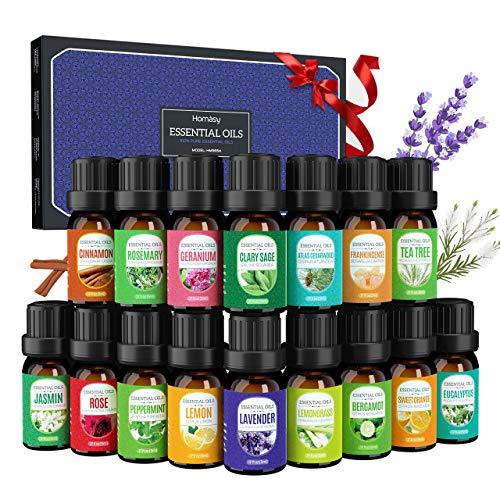Homasy 16 * 5 ml Oli Essenziali, Set di Olio Essenziale Aromaterapia 100% Puri per Diffusore e Massaggi, Lavanda, Eucalipto, Arancio Dolce, Albero del Tè, Citronella e Altro