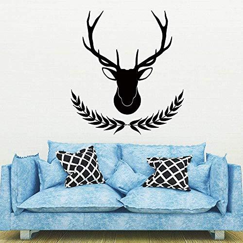 Adesivi murali animali testa di cervo spiga di grano adesivi murali decorazione della casa camera da letto soggiorno divano TV staccabile poster da parete fai da te 52X75Cm
