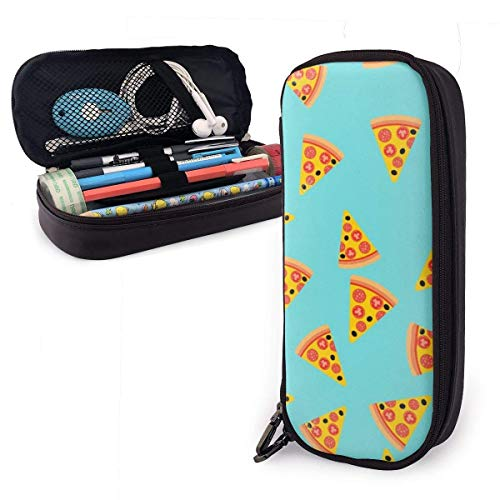 Yuanmeiju Pizza Slice Fast Food Royalty Leather Astuccio with Zipper,8 X 3.5 X 1.5 Inch Microfiber PU Leather Stationery Art Supplies College Office Pencil Holder Pen Case Pouch Unisex