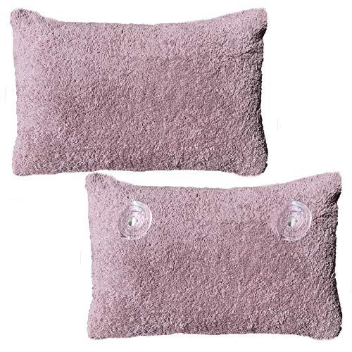 HOMELEVEL cuscino per vasca da bagno in spugna con rivestimento, 100% cotone, cuscino per il benessere e la vasca da bagno, colore rosa antico