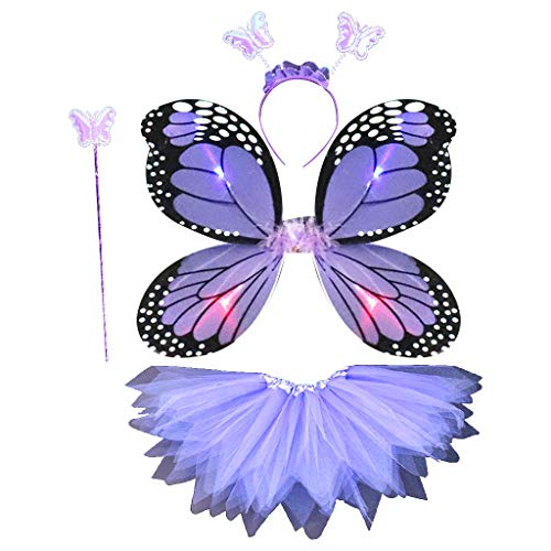 6Wcveuebuc 4 PZ LED Fata Costume Set Per Adulti Bambini Simulazione Farfalla A Punta Tutu Fascia Fascia Bacchetta Principessa Ragazze Partito Dress Up
