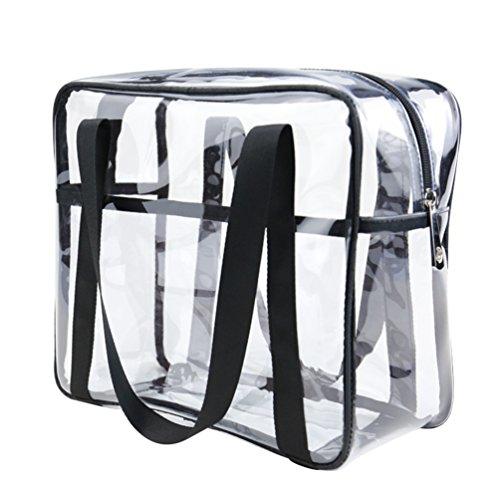 Yuanu Trasparente PVC Cerniera Trucco Handbag Grande Capacità Multifunzione Necessità Quotidiane Borse Di Stoccaggio Serigrafia Impermeabile Durevole Viaggio Wash Borsa Come L'Immagine