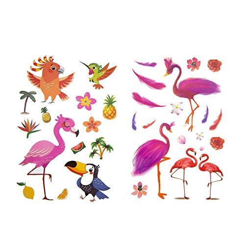 Oblique Unique® - Tatuaggi per bambini a forma di uccellino, circa 66 pezzi, multicolore e temporanei, motivo: fenicottero, colibri, UVM. per giocare al compleanno dei bambini