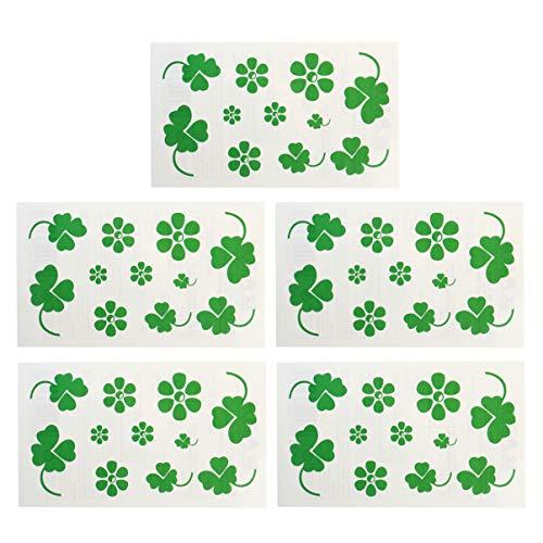 Amosfun 20Pz Adesivi per Tatuaggi Temporanei Quadrifoglio Quadrifogli St. Patricks Day Accessori per Feste di Trifoglio Irlandese
