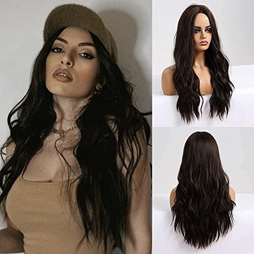 Emmor parrucca lunga marrone per donna Parrucche sintetiche ondulate con capelli naturali con parrucche complete per la parte centrale Uso quotidiano