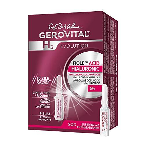 Gerovital H3 Evolution, Fiale Anti-age con Acido Ialuronico 5% idratazione intensiva, per tutti i tipi di pelle, 20 ml x 10 fiale