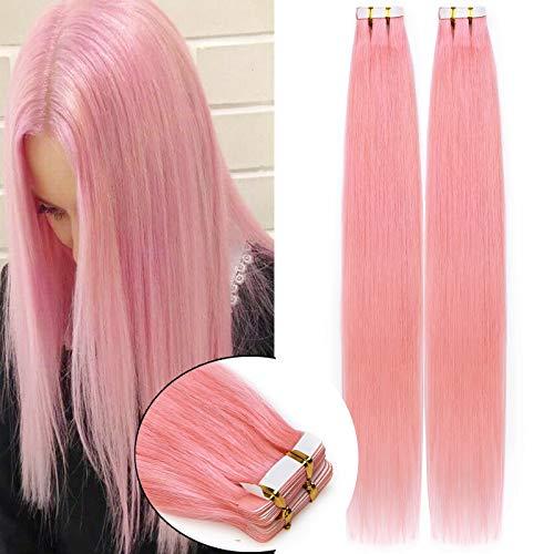 Rich Choices Extension Capelli Veri Biadesivo 40cm #Rosa Remy Hair Extension Capelli Umani Brasiliani 20 Pieces 50g/pack