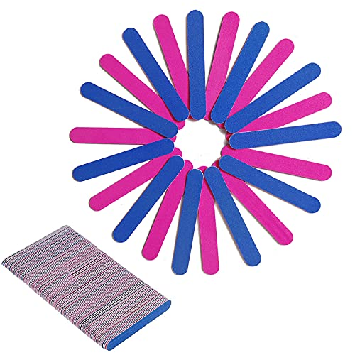 Ealicere 100 Pezzi Monouso Lime per Unghie a Due Lato Smeriglio Bordi Strumenti di Manicure, nail a buffer file Blu e Rosa per Ricostruzione Unghie Nail Art