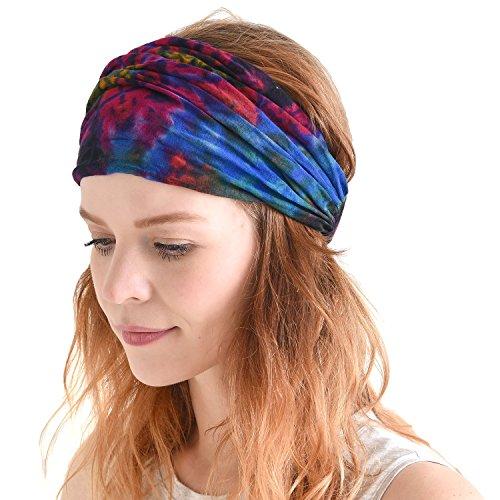 Charm Casualbox Tie Dye Hippie Headband Elastico Bandana Testa Copertina Incarto per Uomo & Donna Fiore Modello 60'S 70'S retrò C
