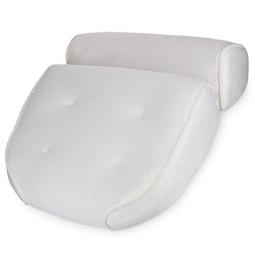 Navaris Cuscino Vasca da Bagno Extra-Comfort - Poggiatesta Air Mesh con Ventose - Relax per Schiena Spalle Collo - Oeko-Tex Standard 100 - Bianco