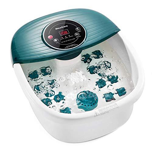 Massaggiatore per piedi con calore, bolle e vibrazioni, controllo digitale della temperatura, 16 rulli massaggianti con mini punti di massaggio di digitopressione, lenisce e rilassa i piedi stanchi