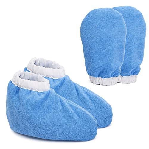 Noverlife - Guanti e stivaletti in spugna di paraffina, per la cura delle mani, per la cura delle mani, protezione per piedi termici, termoterapia, in morbido cotone isolato - blu
