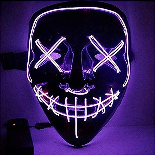 Sinwind Halloween LED Maschere, LED Purge Mask, Maschere Luminose, Maschere Notte del Giudizio, Maschera Neon Maschera LED Illumina per Halloween Cosplay Feste del Partito Costumi (Viola)