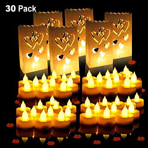 Specool borse a batteria candela LED candela tealight con candele tealight -24 confezioni e carta bianca Candle Bags