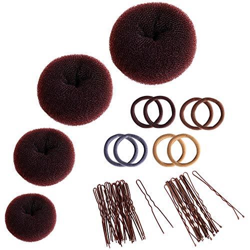 Zingso - Set di 4 accessori per capelli a ciambella, per chignon da donna, con elastici per capelli, 4 pezzi