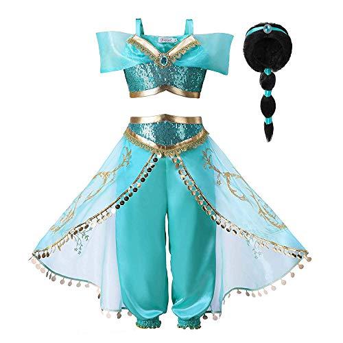 Pettigirl Ragazze Lustrino Principessa Costume Attrezzatura (130, Costume e Parrucca)