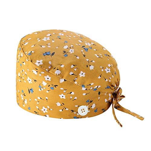 XIAOQING Cappello Turbante Cappello Bouffant Stampato Copricapo Bouffant Regolabile Cappello Unisex con Fascia Sudore per Lavoratori di Bellezza Forniture Cura Personale (E)