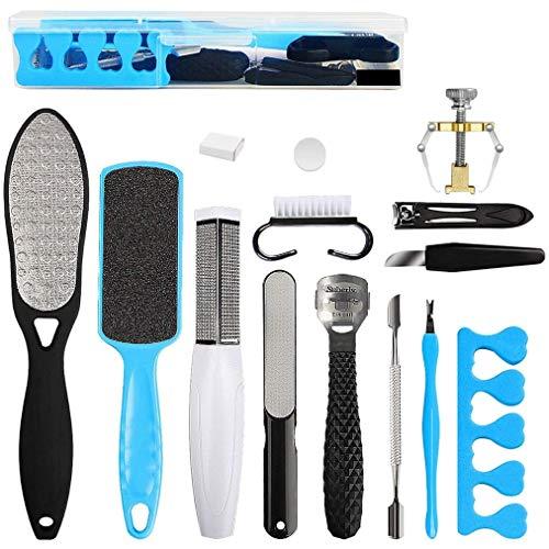 Dioxide Kit per pedicure, kit di strumenti per pedicure professionale 17 in 1 Set di piedi in acciaio inossidabile Raspa per piedi che rimuove la pelle morta per la cura dei piedi a casa