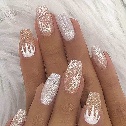 Brishow Bara Unghie finte corte Glitter di neve Decorazioni Natalizie Stampa sulle unghie Ballerina Bastone acrilico sulle unghie 24 pezzi per donne e ragazze