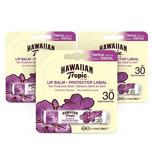 Hawaiian Tropic Lip Balm Pack di 3 Balsamo protettivo solare per le labbra SPF 30, gusto tropicale, 4 g