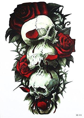 Tatuaggio a forma di teschio con rose, per festival HB418