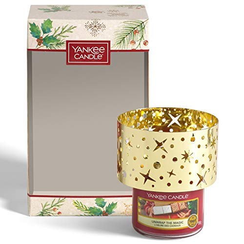 Yankee Candle confezione regalo | Candele profumate natalizie | Giara piccola Unwrap the Magic e paralume | Collezione Magical Christmas Morning