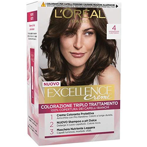 L'Oréal Paris Excellence Crema Colorante Triplo Trattamento Avanzato, 4 Castano