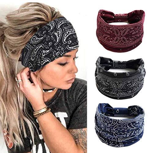 Zoestar - Fascia elastica per capelli stile boho, per yoga, corsa, stile vintage, per donne e ragazze, confezione da 3