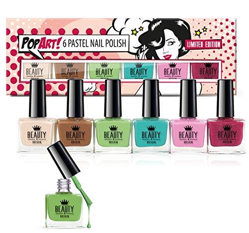 Set di 6smalti per unghie, in 6 diversi colori pastello, in confezione regalo di alta qualità con motivo pop art