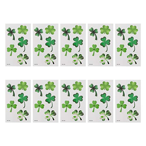 Amosfun 10 Fogli Adesivi per Tatuaggi Temporanei Quadrifoglio Quadrifoglio per St. Festa di Trifoglio Irlandese Trifoglio Festa Patricks Favorisce Accessori di Arredamento
