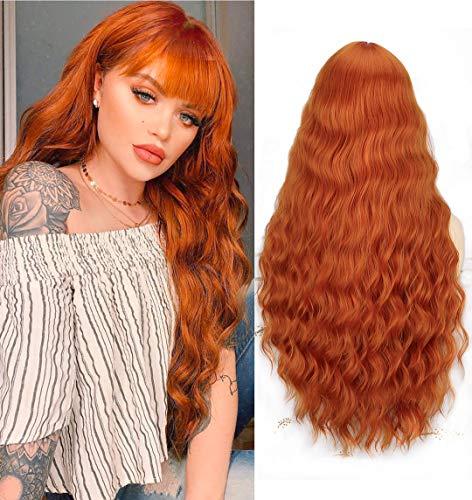 Parrucca lunga donna arancione con frangia, YEESHEDO parrucche capelli naturale ginger lunghi ricci ondulati sintetica capelli auburn ombre wig 28'